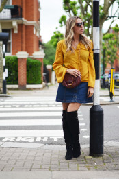 Jeans skirt and a touch of colour