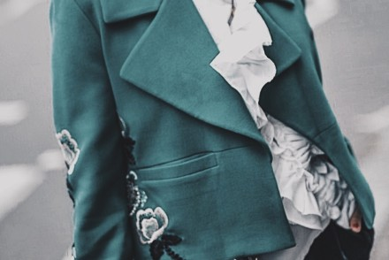 Anhha Green Coat, Storets Top, Gestuz Trousers, Chanel Bag