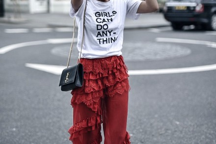 Zadig t-shirt, Girls can do anything, ysl bag, chanel sunglasses, adidas shoes, shiatzy chen trousers